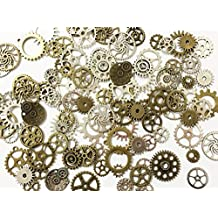 Perfect Shopping 30pc Mixed Antiqued Silver, Antiqued Bronze Metal Alloy Steampunk Gear Charms Cog Connectors Pendants Jewelry Findings