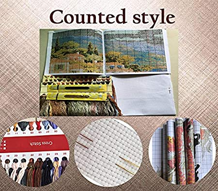 ,11CT Counted 2 Joy Sunday Cross Stitch Kits,Scenery Style,Scenery 29cm/×56cm or 11.31/×21.84