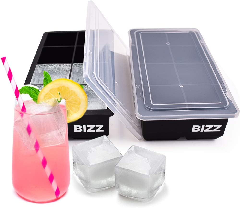 Bizz Large Ice Cube Tray with Lids, Square Shaped Cavities-2 Pack-Big Ice Cubes Perfect for Whiskey, Bourbon, Cocktails, Popsicle Making, Everyday Use, Parties-Reusable, Food Grade Silicone BPA Free
