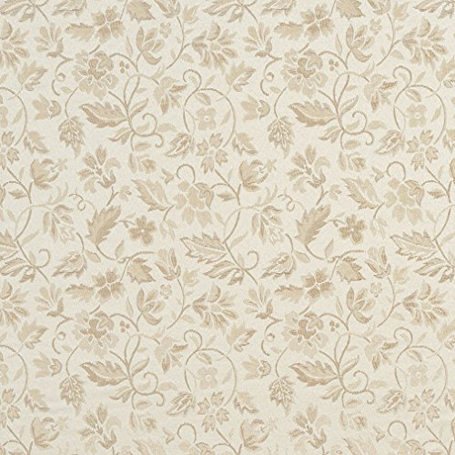 (Ivory White Small Floral Leaf Damask Upholstery Fabric by the yard)
