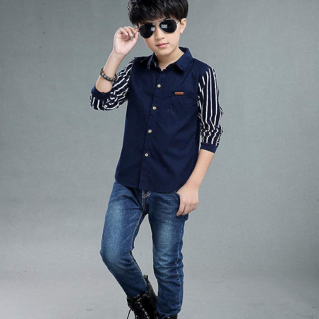 Teen Baby Kids Boys Long Sleeve Stripe Fastener Gentleman T-Shirt Tops Clothes