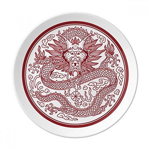 Chinese Dragon Animal Circle Portrait Dessert Plate Decorative Porcelain 8 inch Dinner - Portrait Porcelain