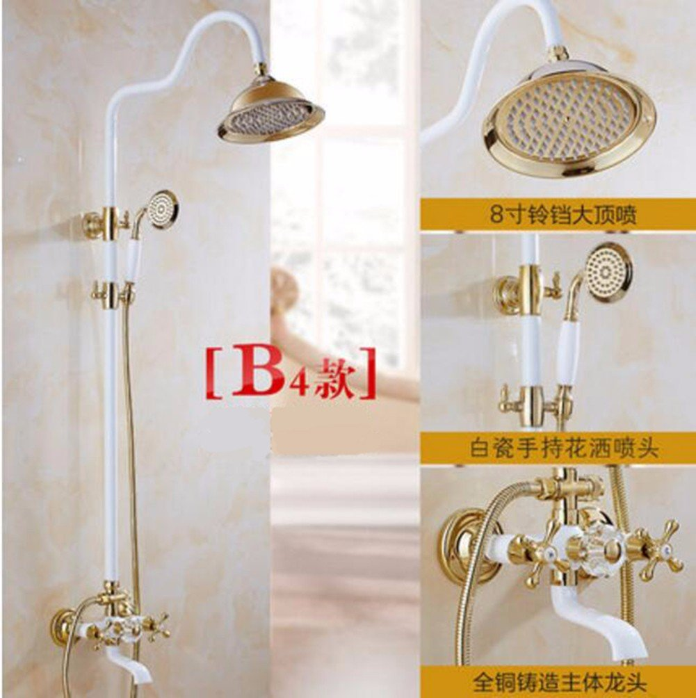 G Shower set Grilled White Paint Shower Shower White Suit European Copper Faucet golden Shower Bathroom Water Mixing Valve,A