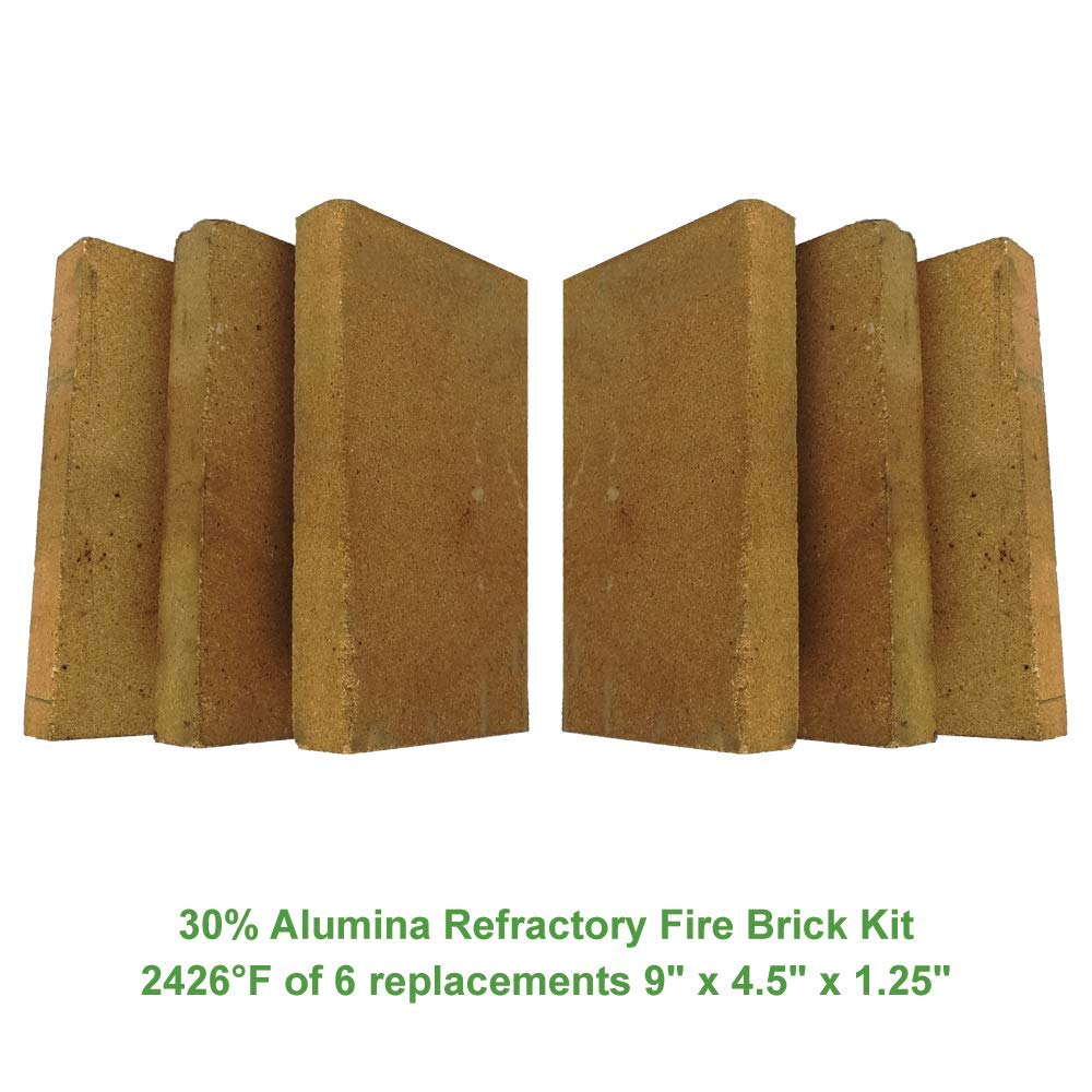 "30% Alumina Refractory Fire Brick Kit 2426°F of 6 Replacements for stoves, fire pits and Pizza ovens 9"" x 4.5"" x 1.25"""