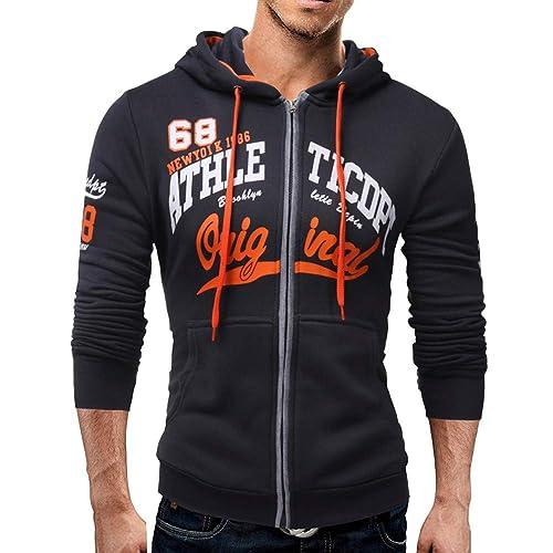 c16b12bd16e0c Amiley mens hoodies,Men's Letter Print Pattern Hoodie Tops Full Zip Hooded  Sweatshirt Outwear Jacket