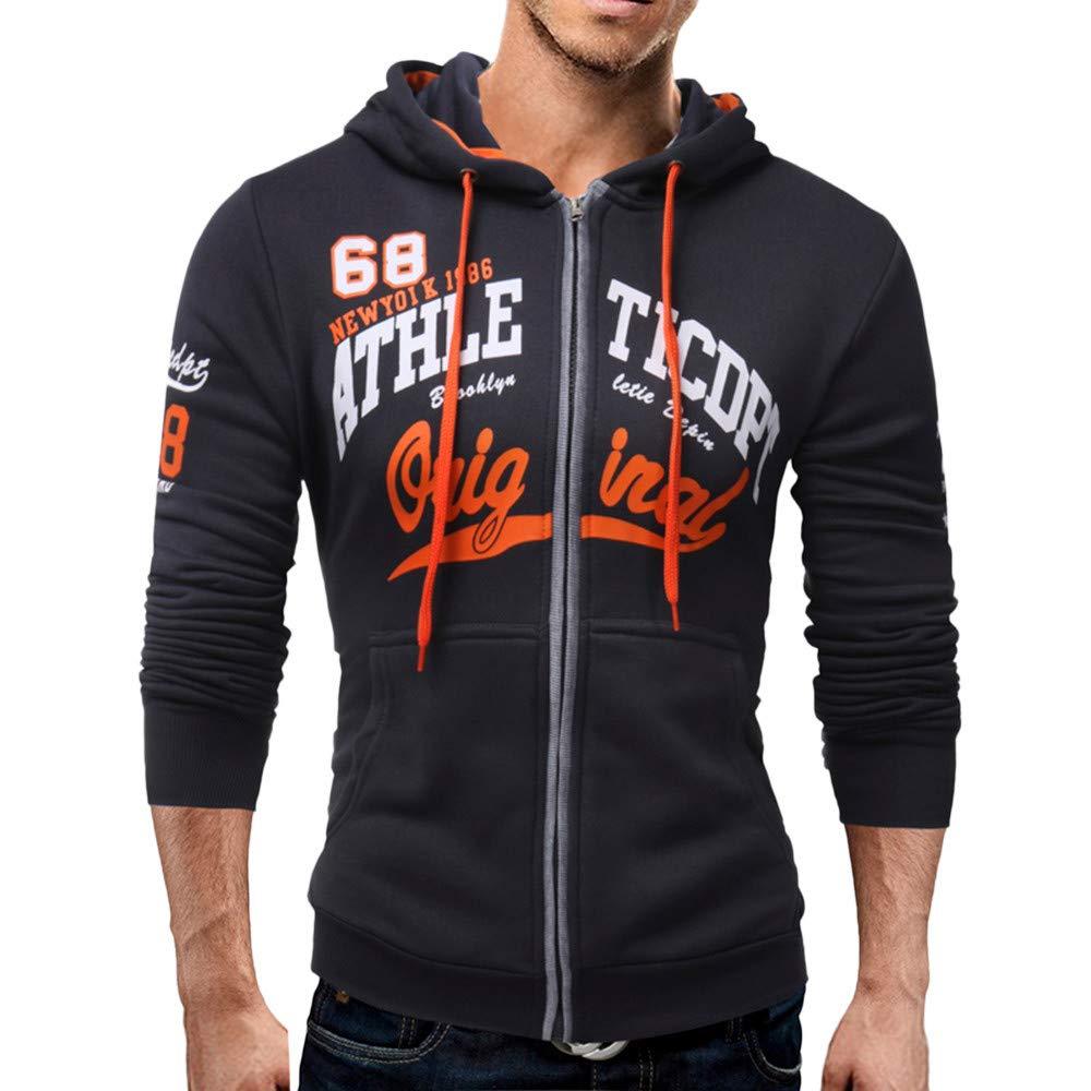 kaifongfu Mens Long Sleeve Hoodie Men Sweatshirt Jacket Coat Top(Dark Gray,2XL)