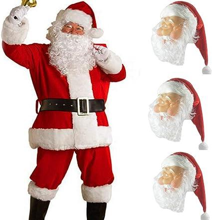 Natale Xmas Babbo Natale Lattice Maschera con barba e cappello