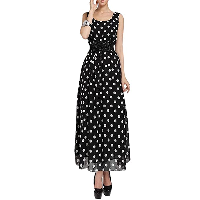 aec656b61f8 Balai Summer Women s Boho Chiffon Polka Dot Long Dress Maxi Party Cocktail  Gown  Amazon.co.uk  Clothing