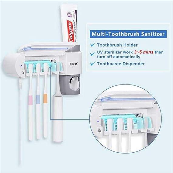 Portacepillos de dientes MECO Soporte de dientes de UV Esterilizador con 5 Ports Dispensador de Pasta de Dientes Soporte de Pared con Cubierta Antipolvo ...