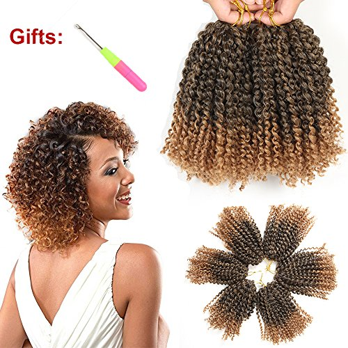 8 Inch Short Marlybob Crochet Hair 6 Bundles/Lot Kinky Curly Crochet Braids Ombre Braiding Hair Synthetic Hair Extension (1B/27#)