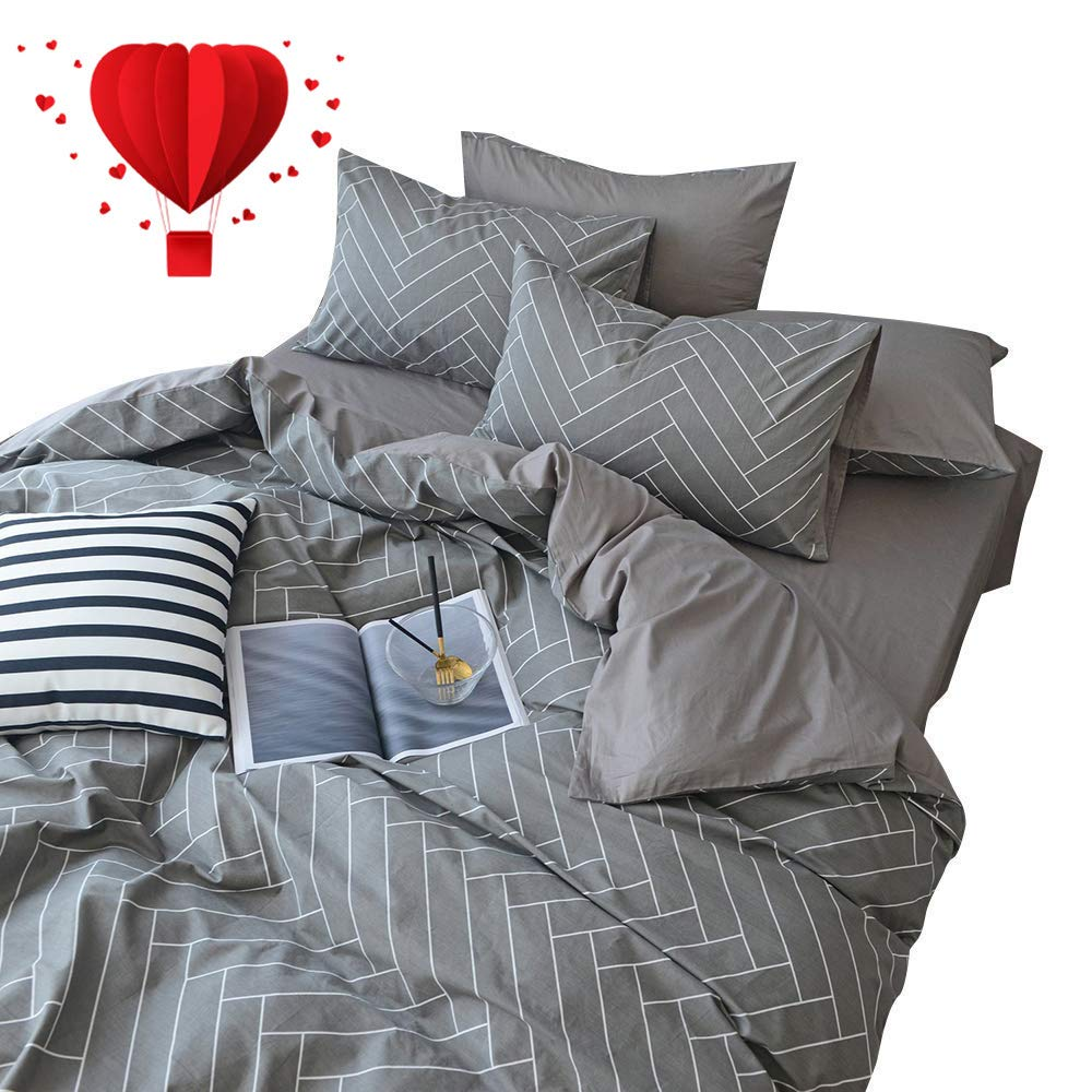 BuLuTu Tropical King Duvet Cover Grey Cotton,Super Soft Neutral Bedding Sets King Gray,3 Pieces Geometrical Men Duvet Cover Set with Zipper Closure for Teen Adults,No Comforter BT22043-JF