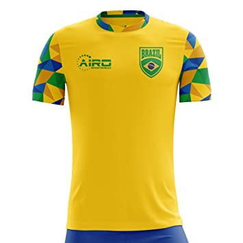 d222f1132 Airo Sportswear 2018-2019 Brazil Home Concept Football Soccer T-Shirt (Kids)   Amazon.co.uk  Sports   Outdoors