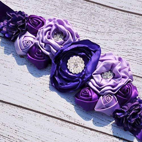 (Beauty Kids Flower Girl Satin Silk Flower Sash Belt Wedding Dress Waist Belt - Purple)