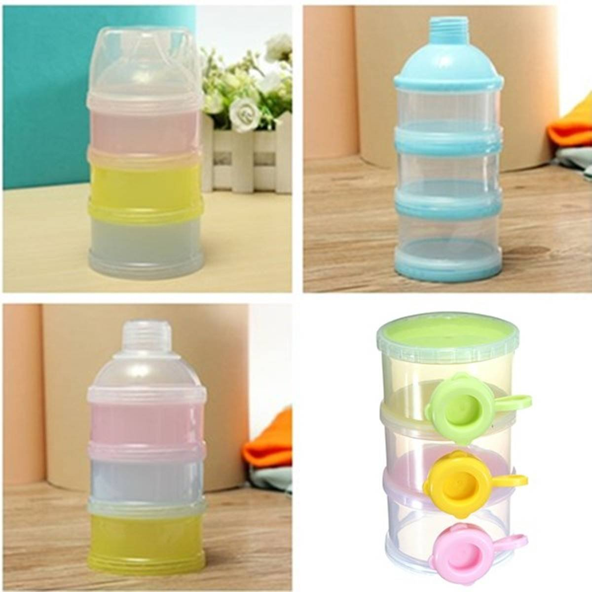 Bazaar Random Color 3 Layer Baby Milk Feed Powder Dispenser Container Compartment Travel Bottle Storage Box Big Bazaar