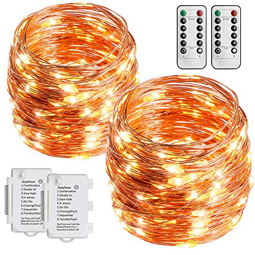 STARKER 2 Pack Battery Operated String Lights 36 Foot 100 LEDs Outdoor Fairy Lights 8 Mode Waterproof Copper Wire Twinkle Lights Bedroom, Yard, Party, Wedding (Remote Control Timer)