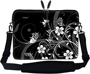 Meffort Inc 15 15.6 inch Neoprene Laptop Sleeve Bag Carrying Case with Hidden Handle and Adjustable Shoulder Strap - Black White Flower Butterfly