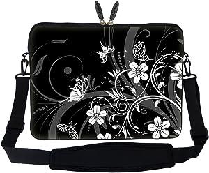 Meffort Inc 15 15.6 inch Neoprene Laptop Sleeve Bag Carrying Case with Hidden Handle and Adjustable Shoulder Strap - Black White Flower Butterfly