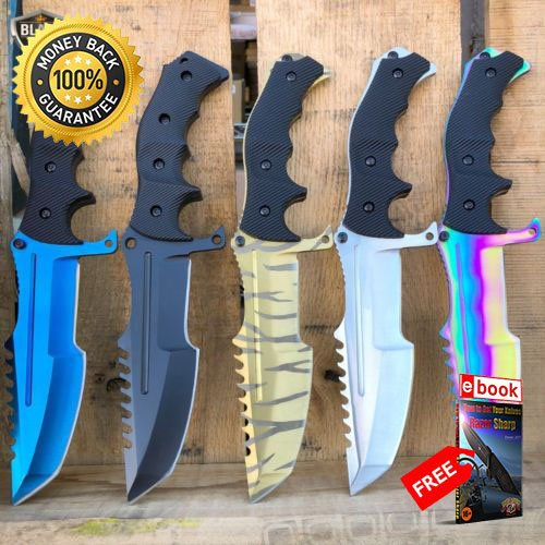 11'' Counter Strike CSGO FIXED BLADE HUNTSMAN KNIFE Hunting Bowie Survival CS:GO For Hunting Tactical Camping Cosplay + eBOOK by MOON KNIVES (11' Knife Hunting)