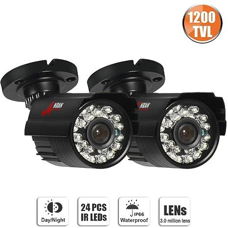 Juego de 2 cámaras de seguridad exteriores de SWINWAY, grabación de 1200 TVL, visión
