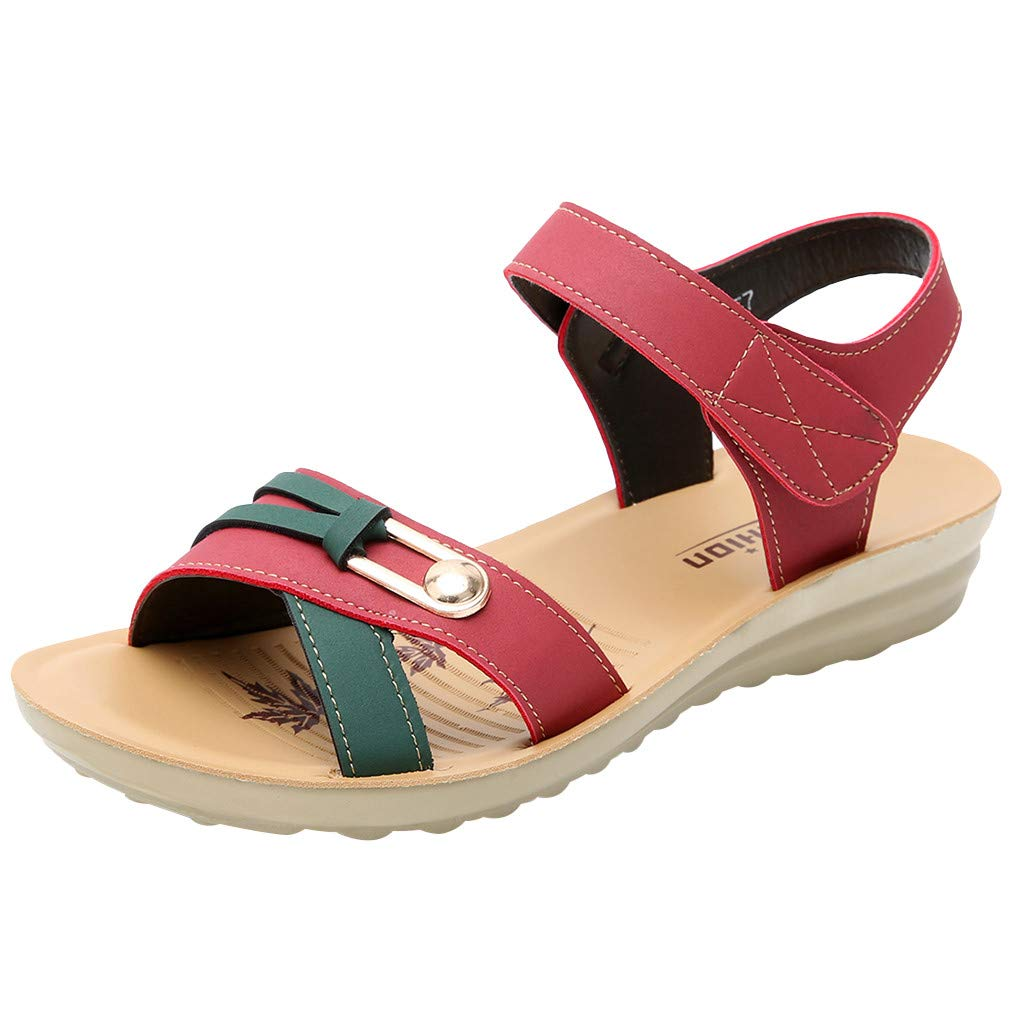 Sonmer Women's Leather Wedges Sandals Summer Fashion Big Size Sandals (Red, 5 M US)