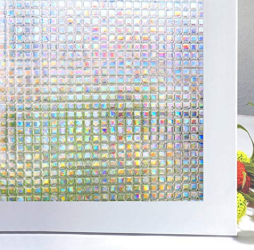 Bloss 3D Decorative Window Film Privacy Window Film Mosaic Window Decals Stained Glass Film Non-adhesive Anti UV 17.7-by-78.7 ()