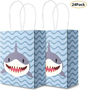 Sumapner Shark Kraft Paper Bags Candy Bags Party Favor Bags with Handle for Birthday,Shark Goodie Bags,Shark Party Favor Bags and Shark Party Supplies(24Pcak)