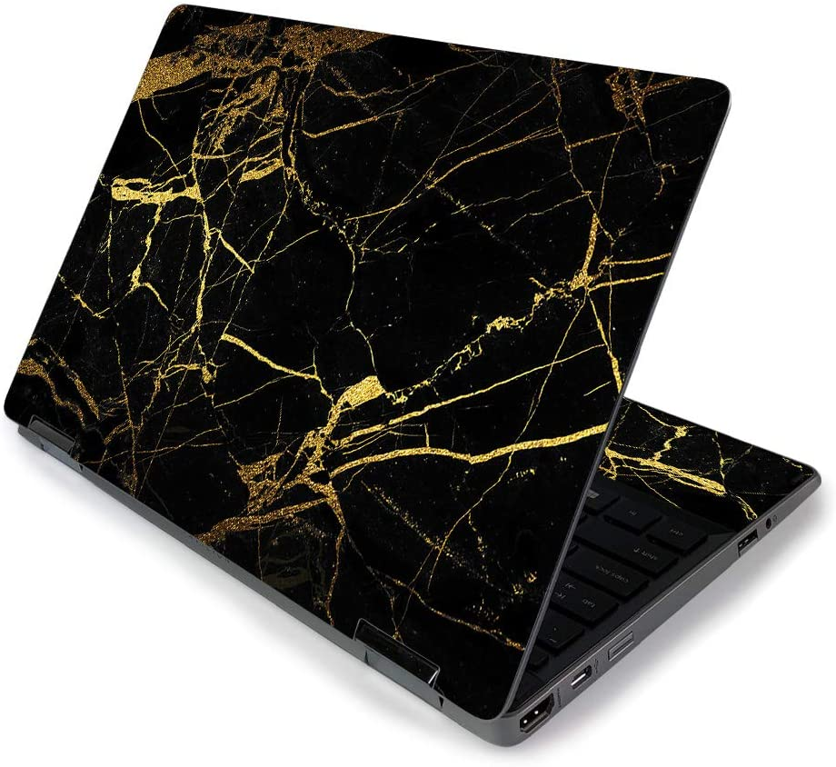 "MightySkins Skin for HP Pavilion x360 11"" (2019) - Black Gold Marble 