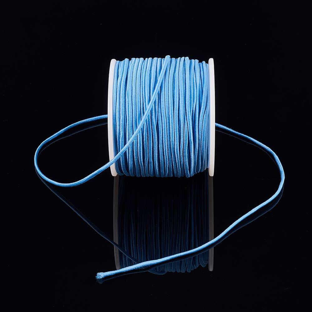 BENECREAT 50m 2mm Cord/ón El/ástico Hilo de Nylon de Rebordear Tela Hilo para Cuentas Pelo y Manualidad Rosa Oscuro