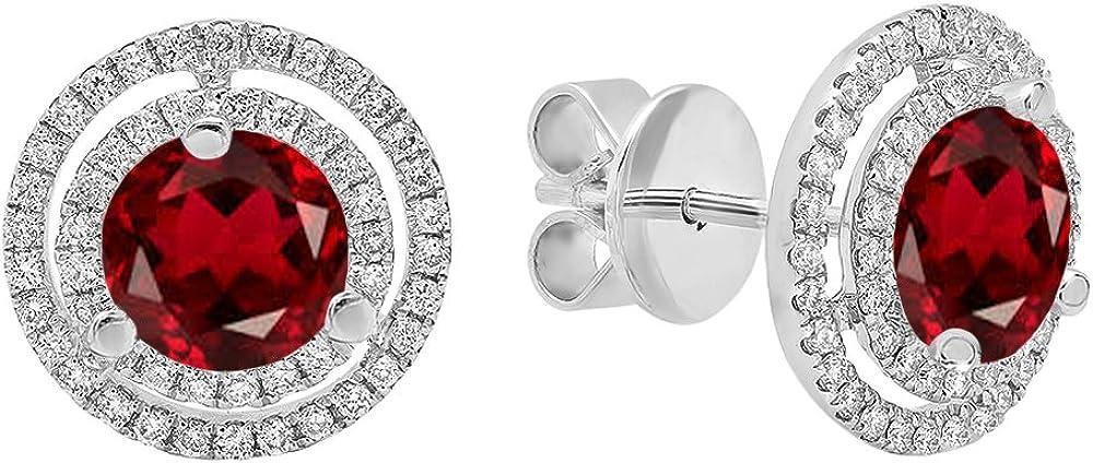 DazzlingRock Collection 18k Oro 6MM Cada Piedra Preciosa y Diamantes Mujer Doble halo Stud Pendientes Granate
