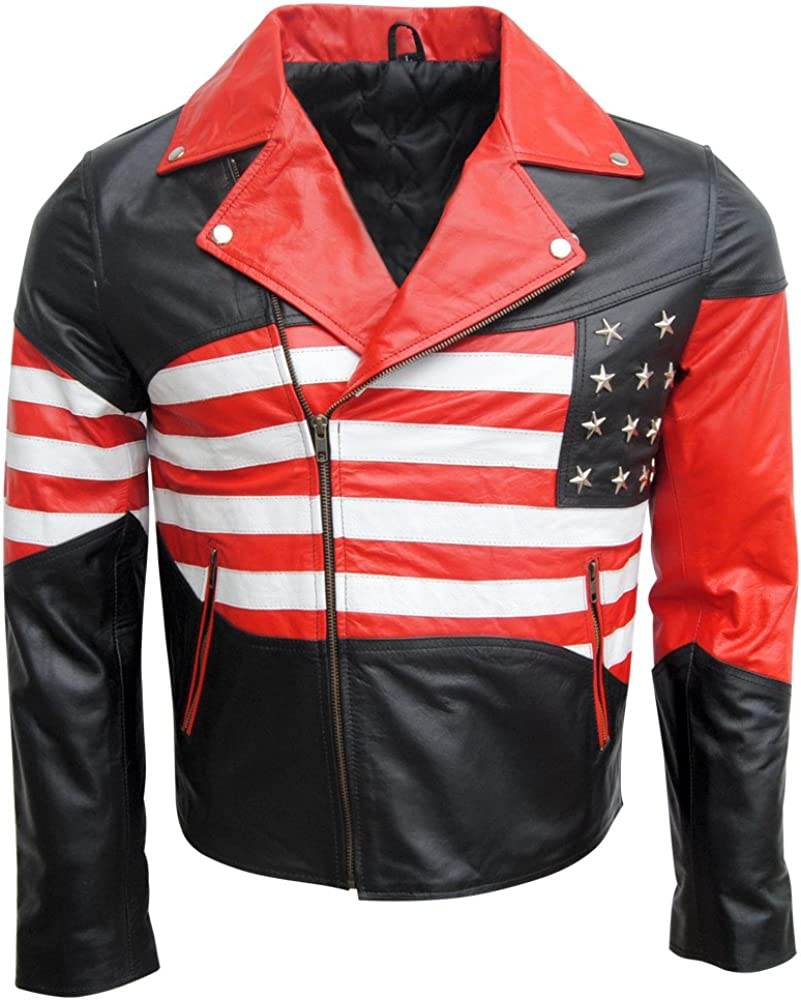 Elbows /& Back Protection on Shoulders Classyak Biker Leather Jacket USA Flag