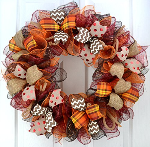 Maroon and Orange Fall Thanksgiving Door Wreath : F2
