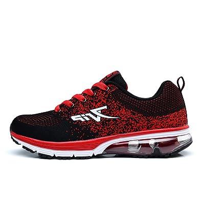 Herren Damen Sportschuhe Laufschuhe mit Luftpolster Turnschuhe Profilsohle Sneakers Leichte Schuhe Black Orange 39 0TMq9bJj