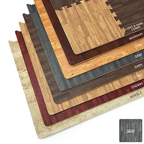 Sorbus Interlocking Floor Mat – Wood Print Multipurpose Foam Tile Flooring – Home, Office, Playroom (16 Tiles,16 Sq ft, Gray)