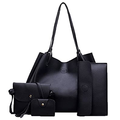 Amazon.com: Women Fashion Vegan Leather Handbags+Shoulder Messenger Bag+Purse+Card Holder Package 4pcs Set Tote: Shoes