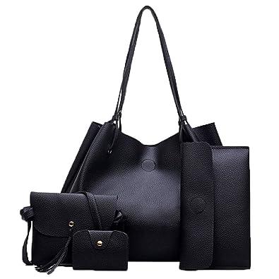 73bd6af935fc Amazon.com  Women Fashion Vegan Leather Handbags+Shoulder Messenger Bag+ Purse+Card Holder Package 4pcs Set Tote  Shoes