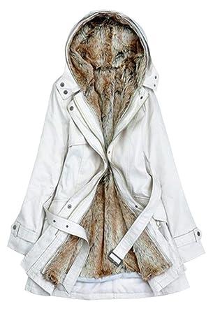 Manteau femme grande taille capuche fourrure