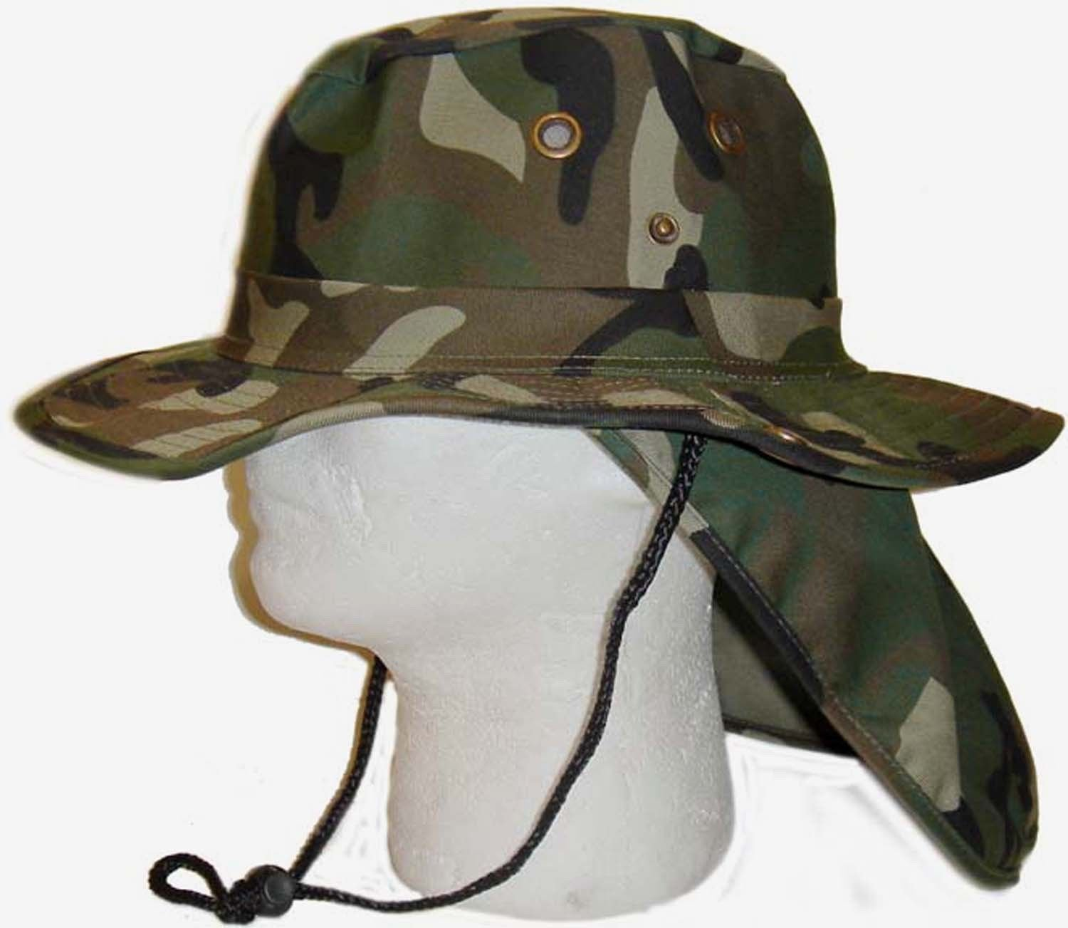 1ba579f43a8 Amazon.com   Boonie Fishing Hiking Snap Brim Army Military Neck Cover Flap  Green Camo Bucket Sun Hat Cap   Sports   Outdoors