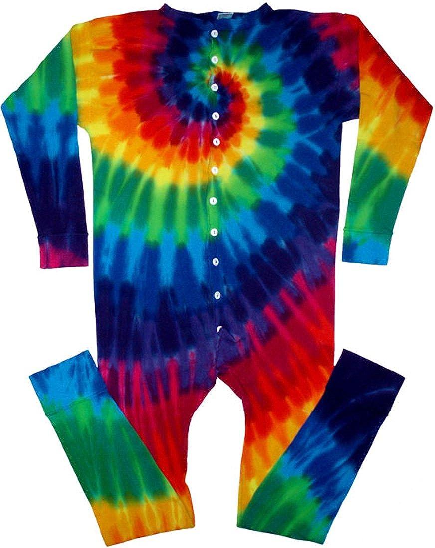 Tie Dyed Shop 12 Color Spiral Tie Dye Underwear Union Suit for Men Women td171us