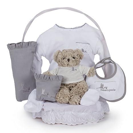Canastilla regalo bebé Clásica Esencial con Osito Teddy BebeDeParis-Gris- cesta regalo recién nacido