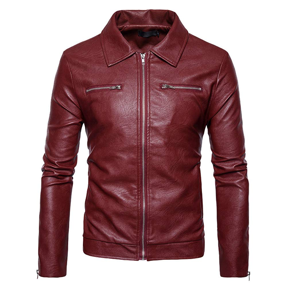 Allywit Men's Leather Jacket Stand PU Mens Faux Fur Coats Motorcycle Jacket