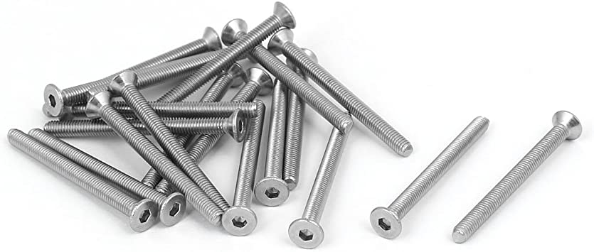 uxcell DIN7991 M3x50mm 316 Stainless Steel Flat Head Hex Socket Cap Screw Bolt 20pcs
