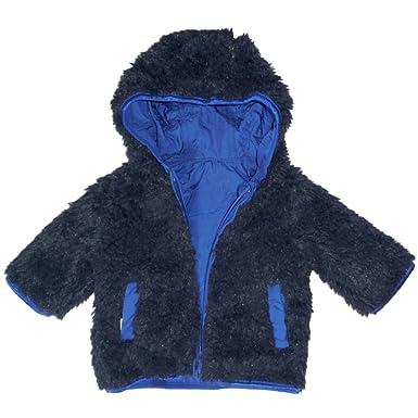 Gap Baby Jungen Winter Wende Jacke mit Plüsch Fell kuschel Pelz blau zum  wenden (56 56c87f8edd