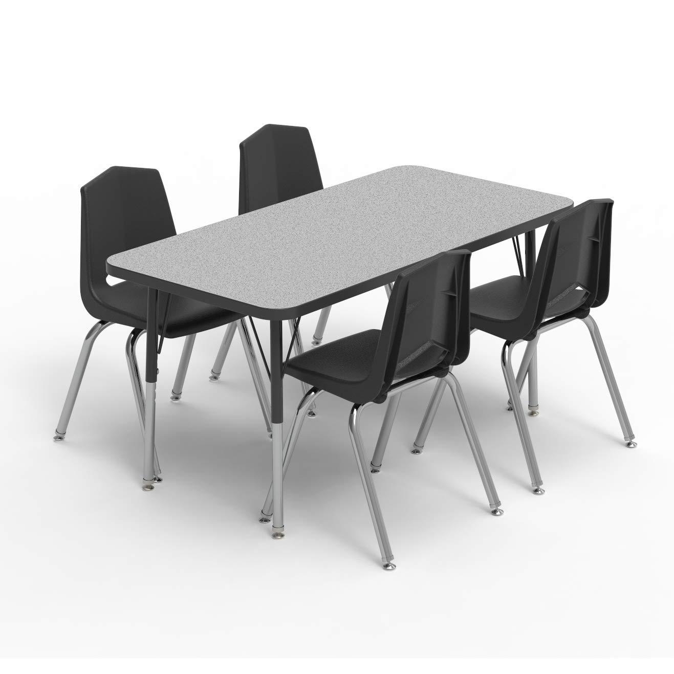 21-30 Marco Group MGA2224-50-BBLK 24 x 36 Rectangular Adjustable Height Classroom Activity Tables Black-Leg Fusion Maple -Top Standard Size Black-Edge