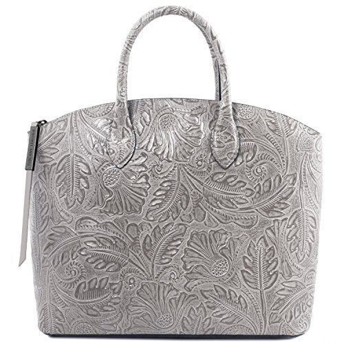 Tuscany Leather Gaia Leather tote with floral pattern Grey by Tuscany Leather