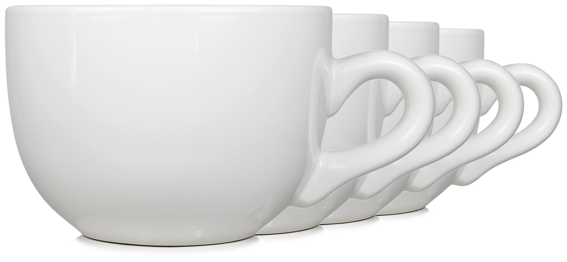 Serami 22oz Ceramic Jumbo Bowl Mugs w/Thick Walls, Handle, and Wide Mouth, Set of 4