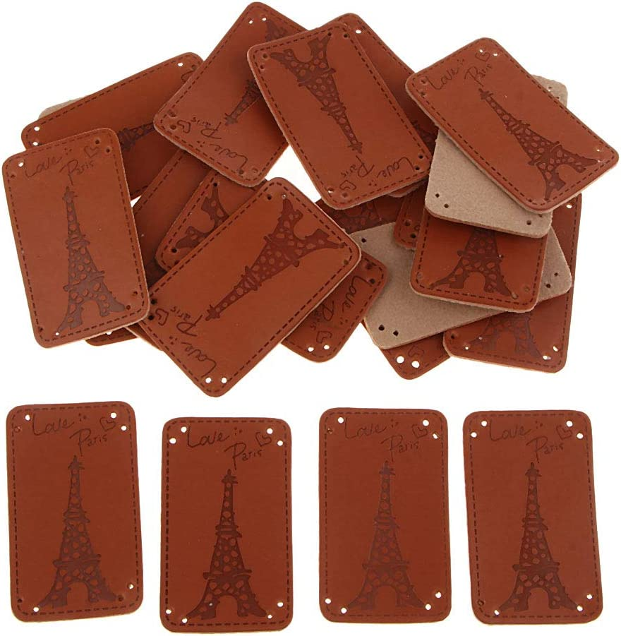Love Heart 20Pcs Decorative Patchwork Apparel Accessories PU Leather Labels Handmade Embossed Tags DIY Sewing Embellishments for Crafts