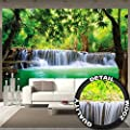 Wallpaper Paradise Waterfall Feng Shui Wall Picture Decoration Nature Jungle Scenery Paradise Vacation Thailand Asia Wellness Spa Relax poster wall decor by GREAT ART (132.3 x 93.7 Inch)