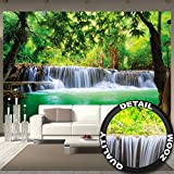 Paradise photo wall paper – waterfall in the jungle – jungle river Kanchanaburi Thailand Si Sawa mural – XXL wall decoration 132.3 Inch x 93.7 Inch
