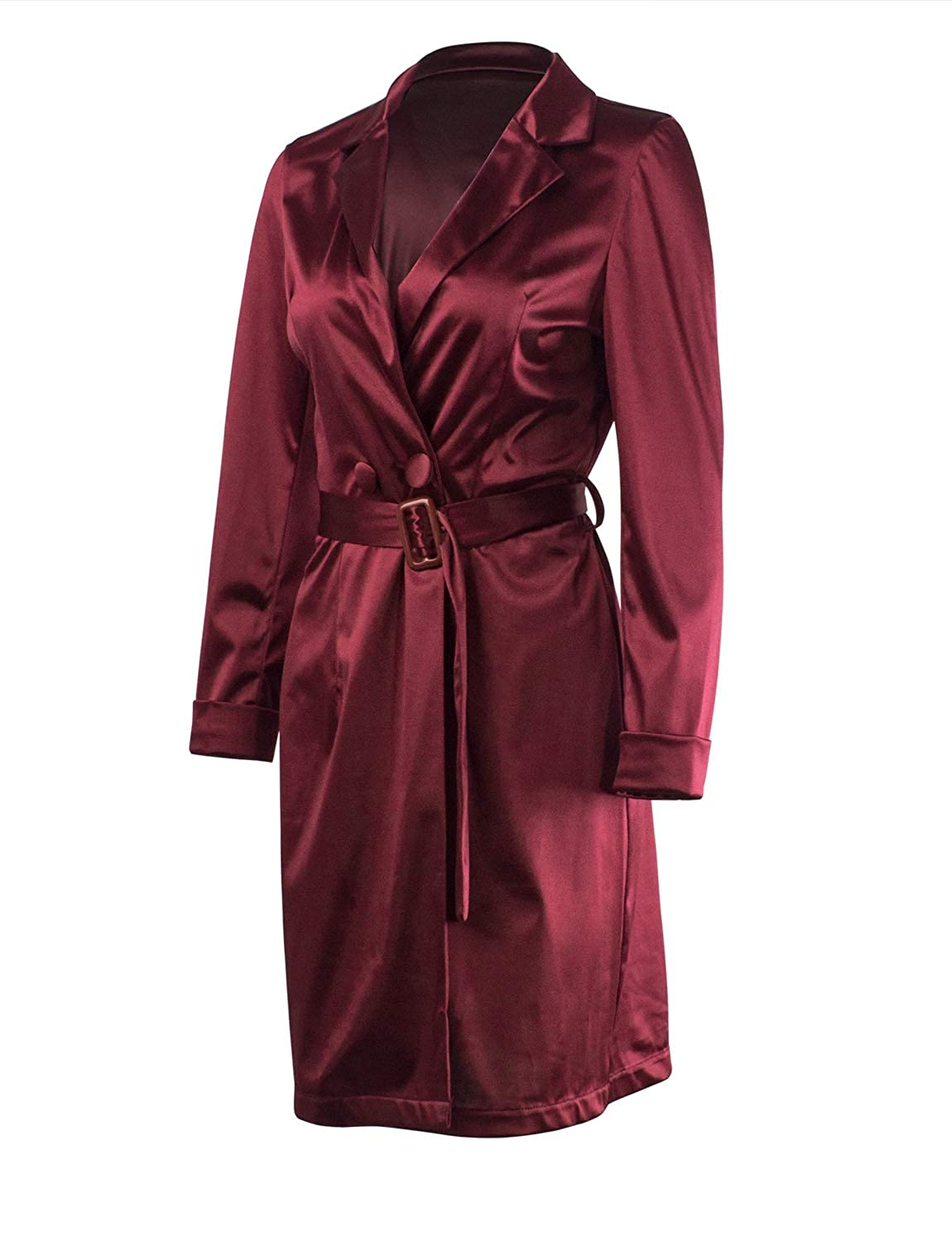 679cfc3027f Women Sexy Satin Long Sleeve Deep V Neck Bodycon Evening Club Pajamas Dress  at Amazon Women s Clothing store