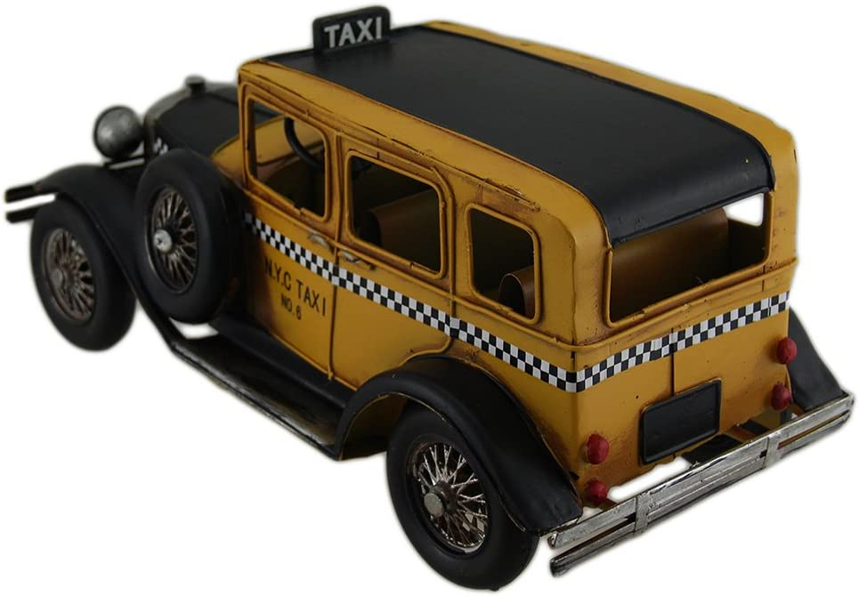 12 in Vintage Finish Antique Style Yellow Metal Taxi Sculpture